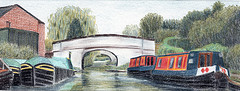 Middlewich branch, Shropshire Union Canal :: colour pencil drawing by kind permission of mojacobs